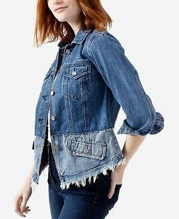 LUCKY BRAND  $119 Cotton Frayed Colorblock Denim Jacket M Me