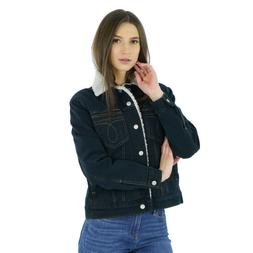 $148 Calvin Klein women's Blue Black Denim Trucker Jacket Si