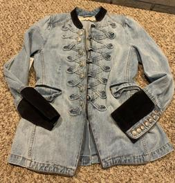 Free People $198 Seamed and Structured Military Denim Jacket