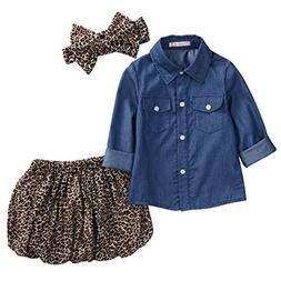 3pc Cute Baby Girl Blue Jean Shirt +Princess Tulle Overlay L