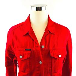 Calvin Klein Jeans Men's Denim Trucker Jacket, Tango Red Rig
