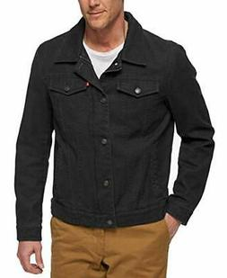 Levi's Men's Cotton Canvas Laydown Trucker Jacket, Black, La