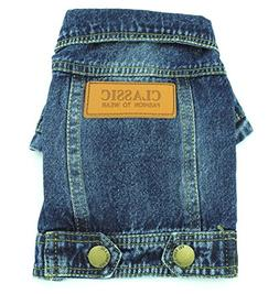 SMALLLEE_LUCKY_STORE Pet Small Dog Cat Clothes Classic Denim