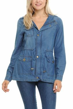 Auliné Collection Womens Chambray Denim Military Lightweigh