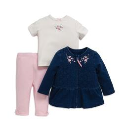Little Me Baby Girl 3-Piece Embroidered Set Denim Jacket, To