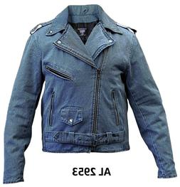 Blue Denim Cotton Jean Classic Biker Motorcycle Jacket, Poly