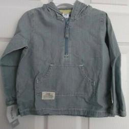 BOYS CARTER'S DENIM HOODIE JACKET - 3/4 ZIP - SIZE 24 MONTHS