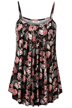 BEPEI Women Camisole Tanks, Loose Casual Summer Pleated Flow