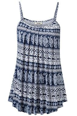 BEPEI Camisole for Women Loose Casual Summer Pleated Flowy S