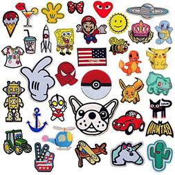 SIX VANKA Cartoon Patches 36pcs Random Assorted Iron On Embr