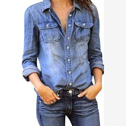 Kangma Women Casual Jean Denim Long Sleeve Shirt Tops Blouse