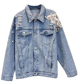 Kedera Women's Casual Ripped Denim Jeans Jacket with Pearls