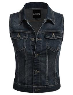 DRESSIS Womens Casual Sleeveless Denim Jean Cropped Vest Jac