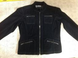 CHICO'S PLATINUM BLACK DENIM JACKET SIZE 1 SLIMMING PERFECT