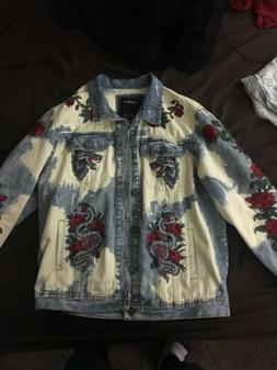 Reason Clothing Snakes And Roses Denim Jacket Size XL