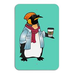 Cool Penguin Hipster with Coffee Home Business Office Sign -