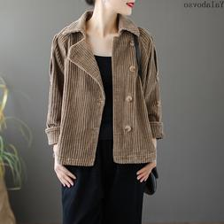 Corduroy Autumn New Retro Long Sleeve Coat Short Coat Single