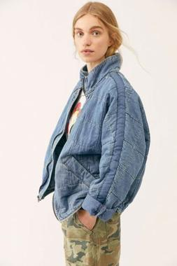 Free People Denim Dolman Quilted Knit Jacket Cali Indigo S/1