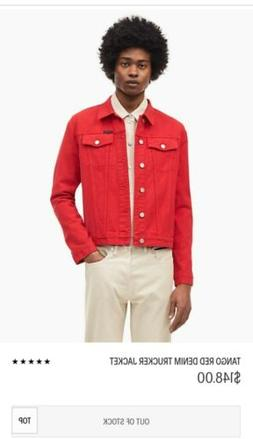 Calvin Klein Denim Jean Jacket NWT Red Sz L SOLD OUT EVERYWH