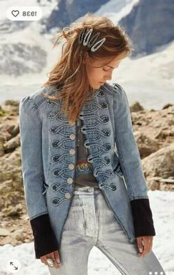 Free People Denim Seamed And Structed Military Denim Jacket