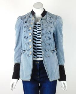 denim seamed and structured jacket button front