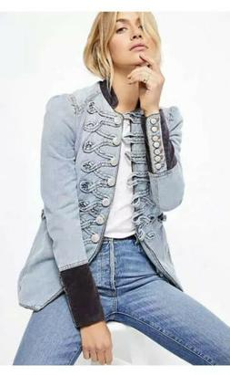 Free People Denim Seamed And Structured Jacket Small $198