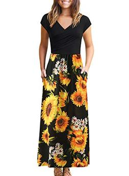 Women's Dresses with Pockets V Neck Floral Print Pleated Cap