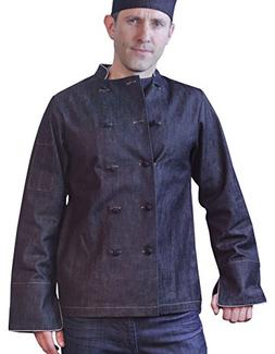ASD Living Dylan Vintage Denim Long Sleeve Chef Coat, Small,