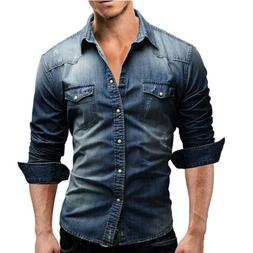 Fashion Men Dark Wash Denim Jeans Shirt Jacket Long Sleeves