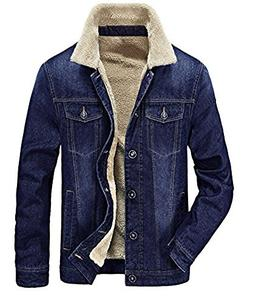 Zicac Men's Fleeced Denim Jacket Winter Fall Warm Cowboy Coa