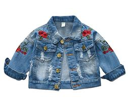 Kids Baby Girls Floral Embroidered Denim Jacket Casual Baseb