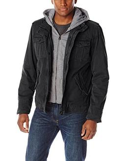Washed Cotton Hooded Military Jacket,Black,Large