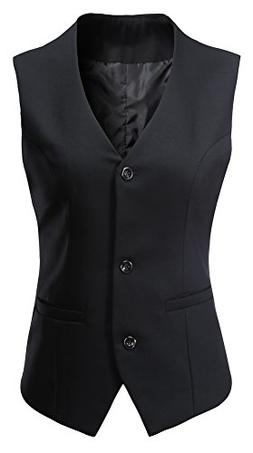 Vocni Women's Fully Lined 3 Button V-Neck Economy Dressy Sui