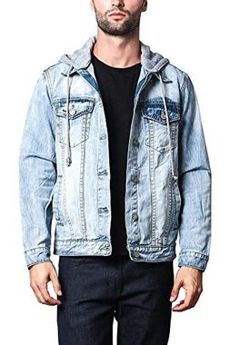 G-Style USA Hoodie Layered Distressed Denim Jacket with Remo