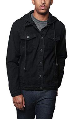 G-Style USA Hoodie Layered Ripped Denim Jacket with Removabl