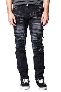Victorious G-Style USA Men's Ripped Faded & Layered Denim wi