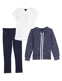 Nautica Girls' Toddler Marled Zip Jacket, Knit Lace Top & Je