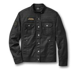 Harley-Davidson Men's Flaming Skull Patch Denim Shirt Jacket
