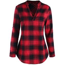 BEAUTYVAN Henley Shirts for Women, Ladies Plaid Long Sleeve