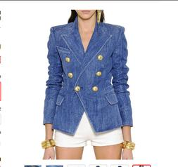 HIGH QUALITY Women's Denim Blazer Jacket Double-breasted  Je