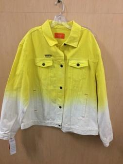 iceberg history denim jacket 3xl yellow and white made in it