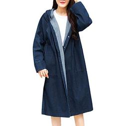 Morecome Women Hooded Casual Long Sleeve Button Fashion Deni