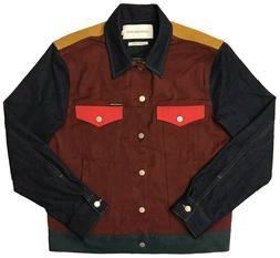 CALVIN KLEIN JEANS Color Block Denim Trucker Jacket - Red/Bl