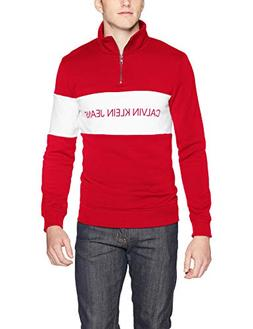 Calvin Klein Jeans Men's Track Jacket, Tango red, Small