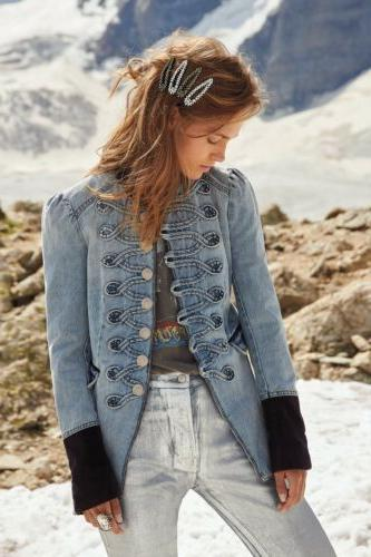 198 seamed and structured military denim jacket