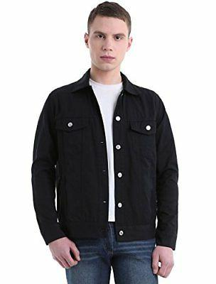 Allegra K Men Single Breasted Denim Jackets w Flap Pockets B