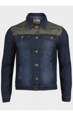 Brave Soul Mens Denim Jacket in Washed Blue with camouflage