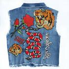 Denim Vest Jacket with Embroidered Patches Appliques DIY KIT