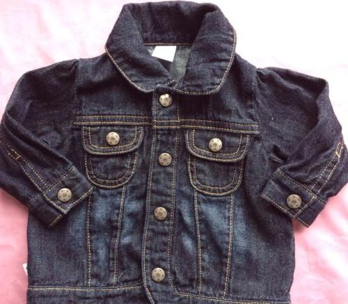 Girl's 6 Months Denim Jacket Silver Snap Front NEW Girl's Da