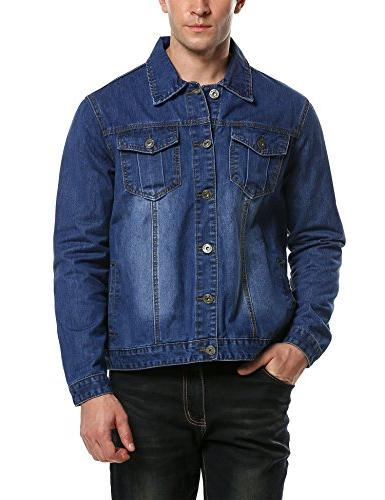 Hotouch Men's Jean Jacket Big and Tall Blue M
